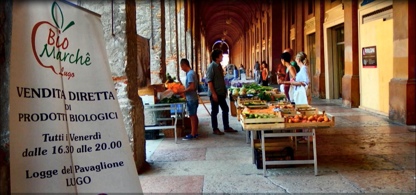 il BioMarché di Lugo, sotto le logge del Pavaglione